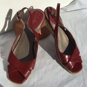 Cole Haan Red Open Toe Sling Back Sandals, Sz 9.5B